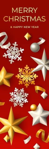 Frohe weihnachten vertikale banner Kostenlosen Vektoren