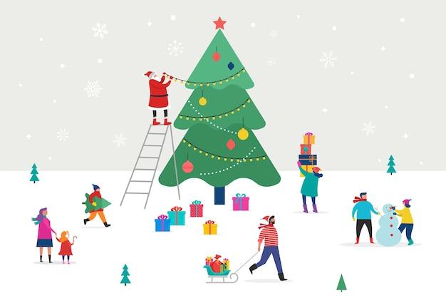 Frohe weihnachten, winterszene mit einem großen weihnachtsbaum und kleinen leuten, jungen männern und frauen, familien, die spaß im schnee haben, einen baum schmücken, skifahren, snowboarden, rodeln, eislaufen Premium Vektoren