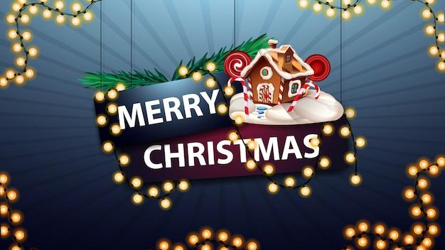 Frohe weihnachten, zeichen eingewickelt mit einer girlande mit weihnachtsbaumasten und weihnachtslebkuchenhaus Premium Vektoren