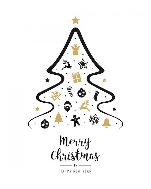 Symbol Weihnachtsbaum.Frohe Weihnachtsbaum Symbol Elemente Grußtext Karte Goldener