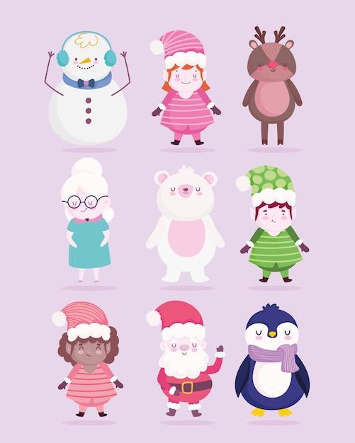 Frohe weihnachtsdekoration feier cartoon charakter illustration Premium Vektoren