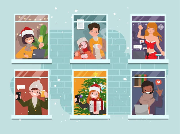 Frohe weihnachtsfeier sammlung von menschen bleiben zu hause. Premium Vektoren