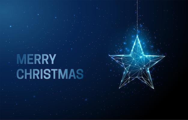 Frohe weihnachtsgrußkarte mit sternweihnachtsspielzeug Premium Vektoren