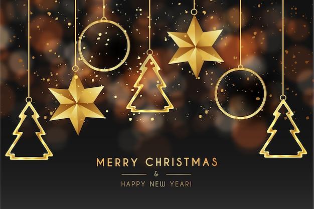 Frohe weihnachtskarte mit goldenen sternen und tannen Kostenlosen Vektoren