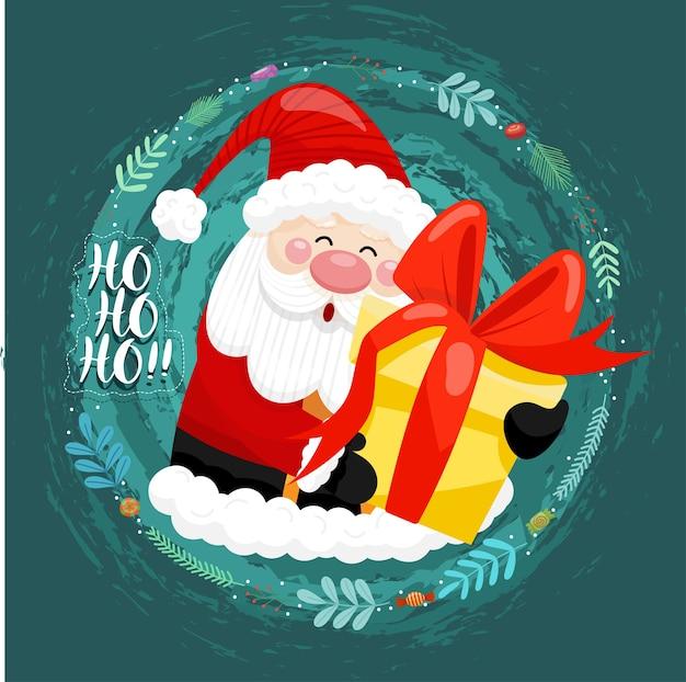 Frohe weihnachtskarte mit weihnachtsmann, der geschenkboxen im kreisbereich hält Kostenlosen Vektoren