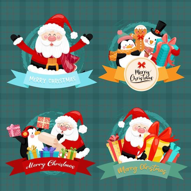 Frohe weihnachtskarte mit weihnachtsmann, schneemann, pinguin und geschenkbox. Kostenlosen Vektoren