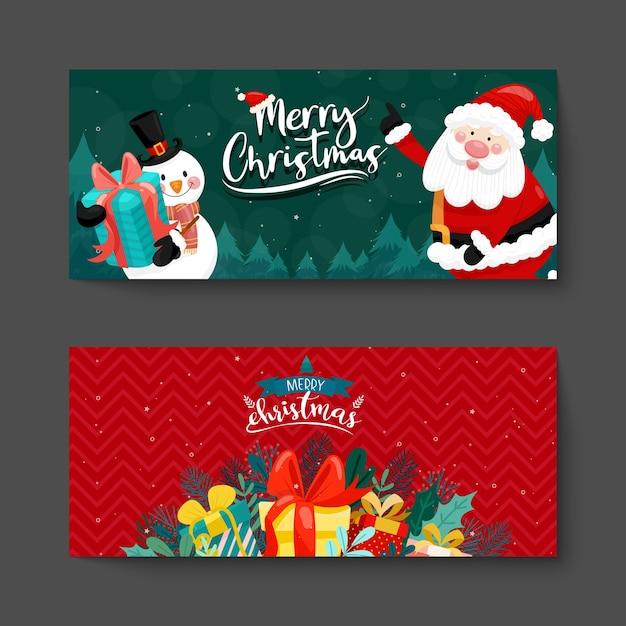 Frohe weihnachtskarte mit weihnachtsmann, schneemann und geschenkbox. Kostenlosen Vektoren