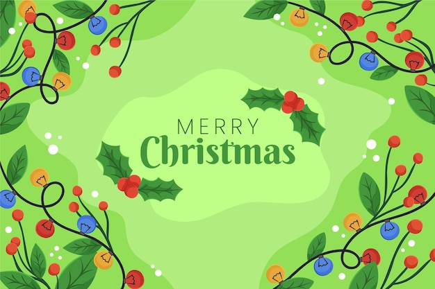 Frohe weihnachtsnachricht auf grünem hintergrund Kostenlosen Vektoren