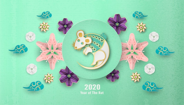 Frohes chinesisches neujahr 2020, jahr der ratte. Premium Vektoren