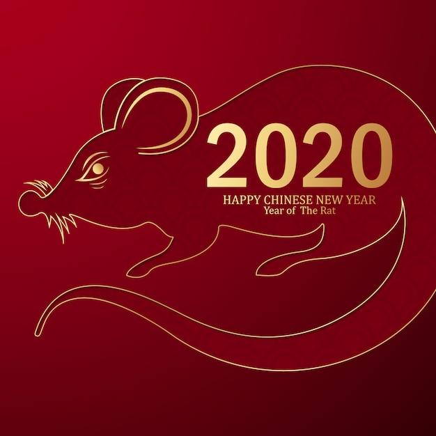 Frohes chinesisches neujahr 2020 jahr der ratte Premium Vektoren