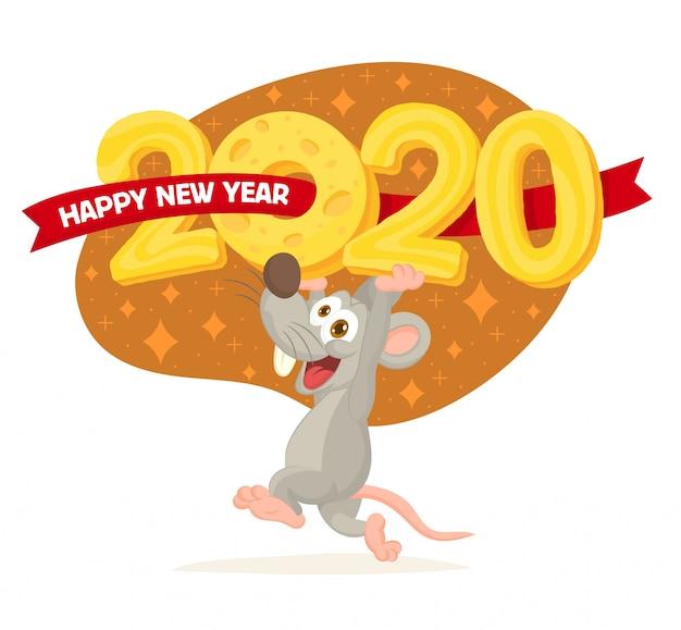 Frohes chinesisches neujahr 2020 Premium Vektoren