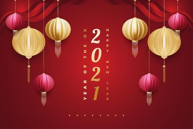 Frohes chinesisches neujahr 2021 bannerjahr des ochsen. neujahrsbanner mit rot und gold Premium Vektoren