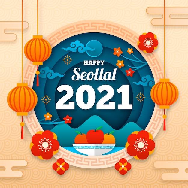 Frohes koreanisches neujahr im papierstil Kostenlosen Vektoren