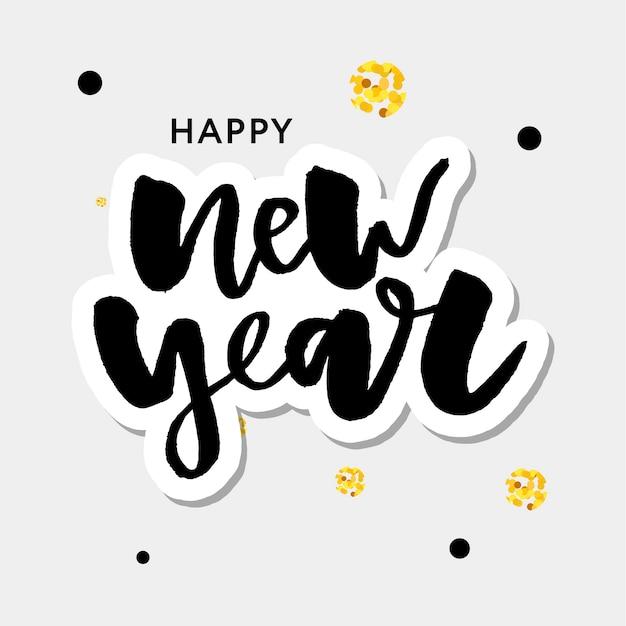 Frohes neues 2018 jahr. feiertags-vektor-illustration mit beschriftungs-zusammensetzung und explosion. weinlese-festlicher aufkleber Premium Vektoren