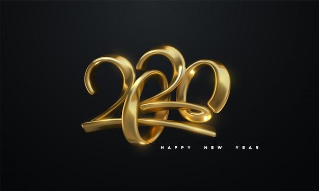 Frohes neues 2020 jahr. feiertagsvektorillustration von goldenen metallischen kalligraphischen zahlen 2020 Premium Vektoren