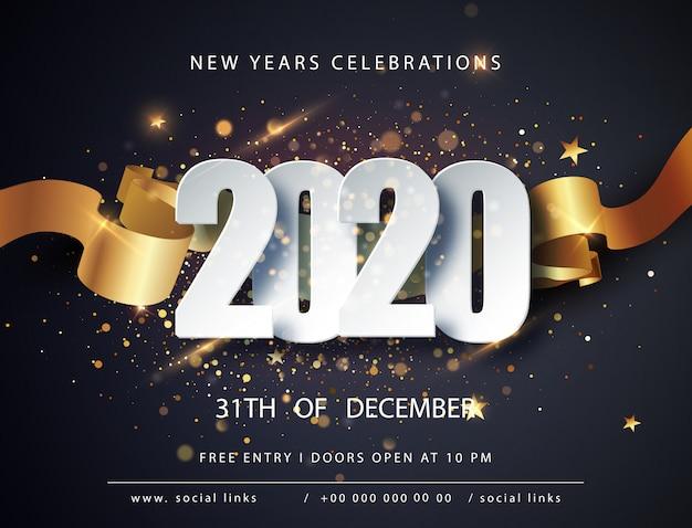 Frohes neues 2020 jahr. winterurlaub grußkartenvorlage. weihnachts- und neujahrsplakate. frohes neues jahr dunkel festlich Premium Vektoren