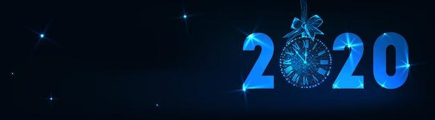 Frohes neues banner mit futuristisch leuchtenden niedrigen poly 2020 text Premium Vektoren