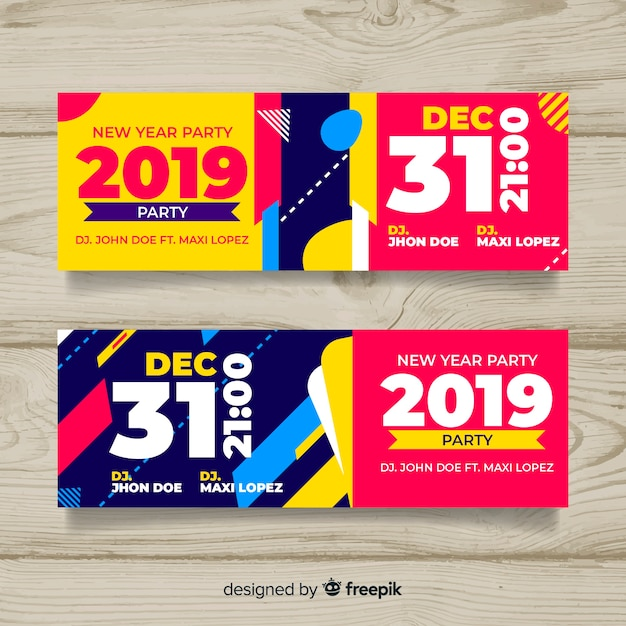 Frohes neues jahr 2019 banner Kostenlosen Vektoren