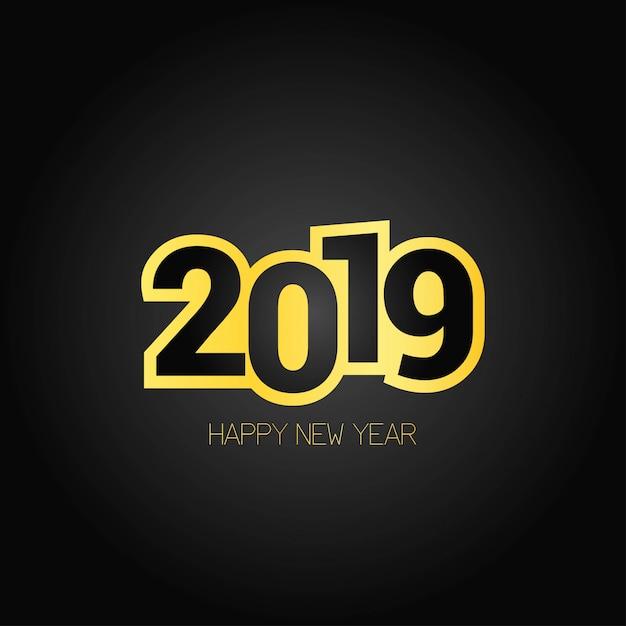 Frohes neues jahr 2019 design mit dunklem hintergrund Kostenlosen Vektoren
