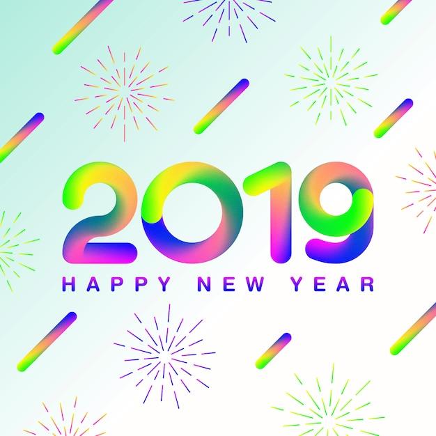 Frohes neues jahr 2019_gradient style Premium Vektoren
