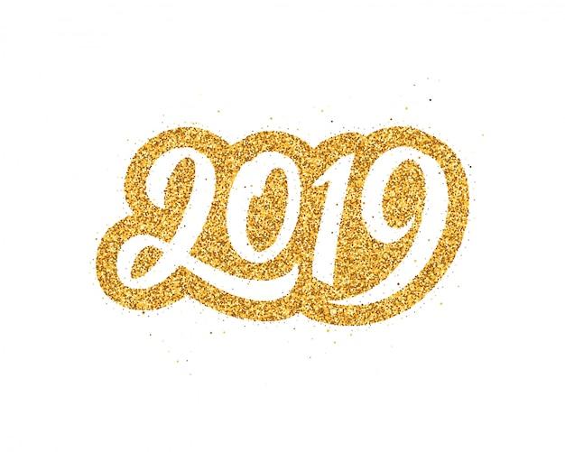 Frohes neues jahr 2019 grußkarte Premium Vektoren