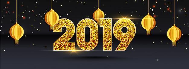 Frohes neues jahr 2019 hintergrund. Premium Vektoren