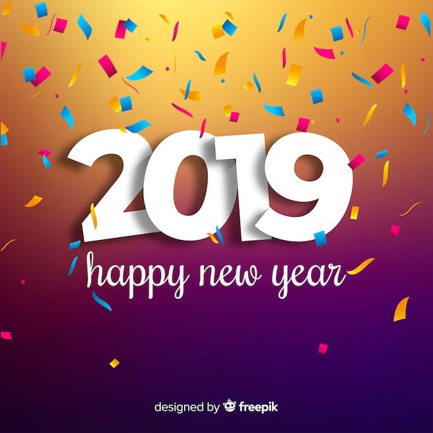 Frohes neues Jahr 2019 Hintergrund Kostenlose Vektoren