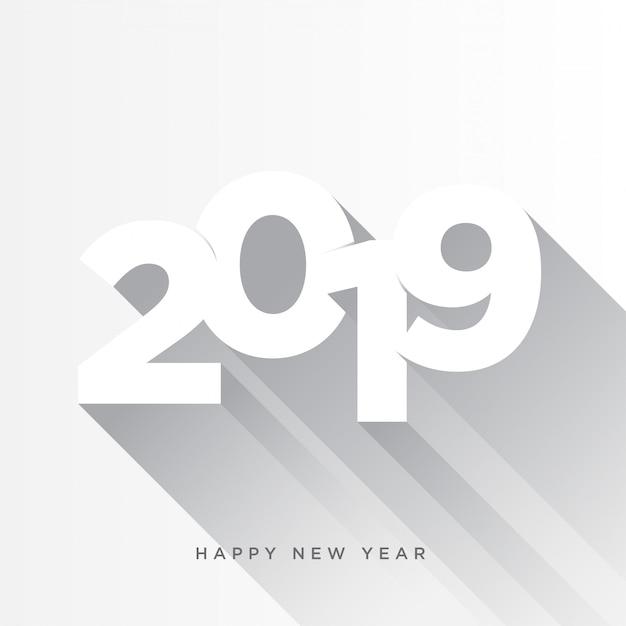 Frohes neues jahr 2019 kartenthema. grauer langer schatten auf weißem hintergrund Premium Vektoren