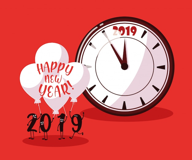 Frohes neues jahr 2019 kawaii charakter Premium Vektoren