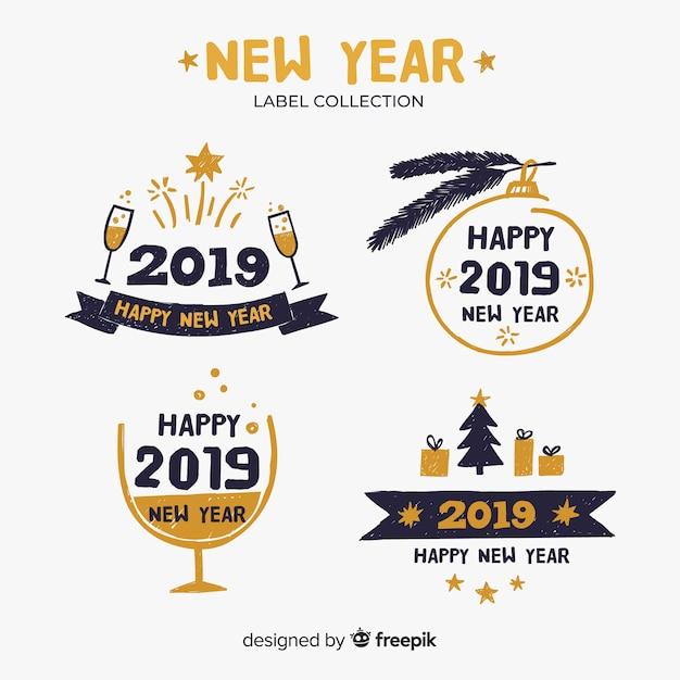 Frohes neues jahr 2019 label-kollektion Kostenlosen Vektoren