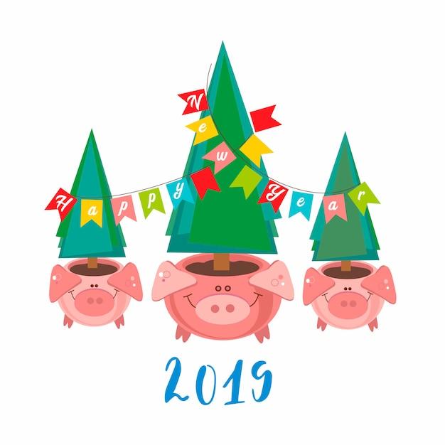 Frohes neues jahr. 2019. lustige schweintöpfe mit weihnachtsbäumen Premium Vektoren