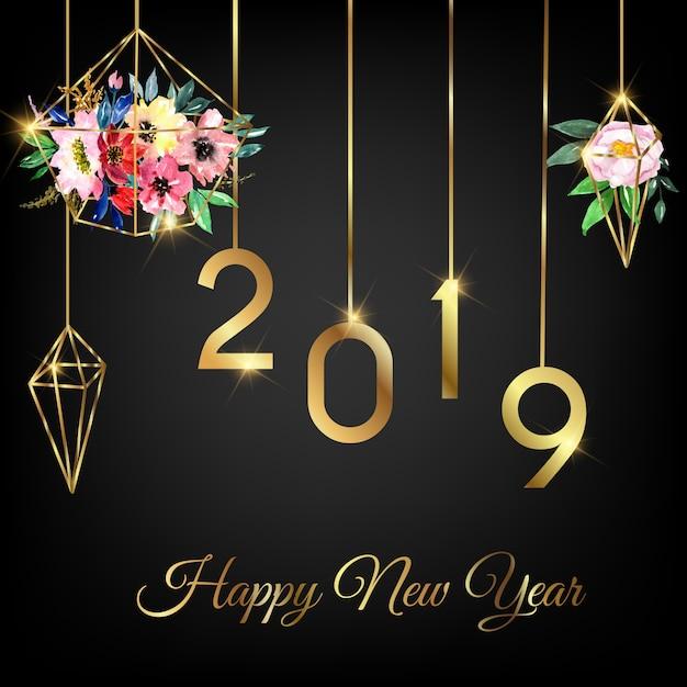 Frohes neues jahr 2019 mit aquarellblumengeometrie Premium Vektoren
