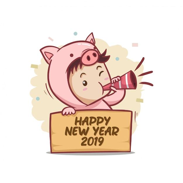 Frohes neues jahr 2019 mit jungencharakter Premium Vektoren