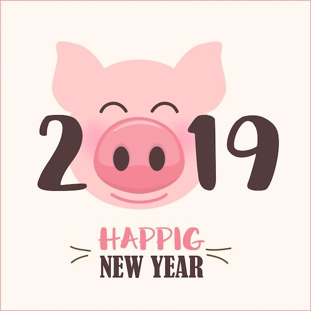 Frohes neues jahr 2019 mit niedlichen cartoon schweine gesicht Premium Vektoren