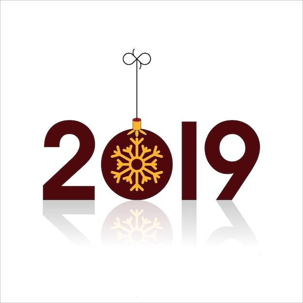 Frohes neues jahr 2019 mit weihnachtskugel und schneeflocken Premium Vektoren
