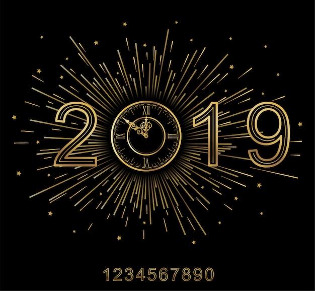 Frohes neues jahr 2019. Premium Vektoren