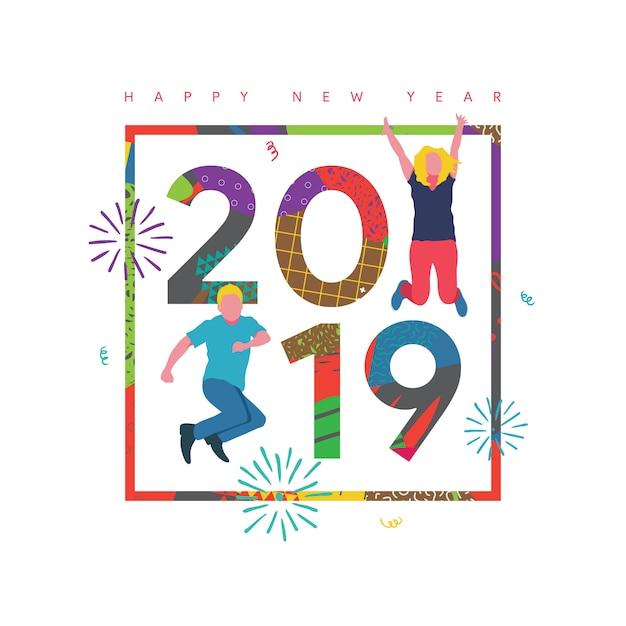 Frohes neues jahr 2019 Premium Vektoren