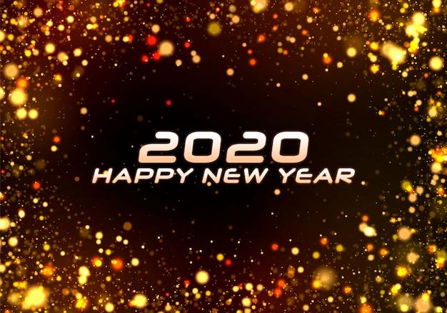 Frohes neues jahr 2020. bokeh funkeln weihnachten. Premium Vektoren