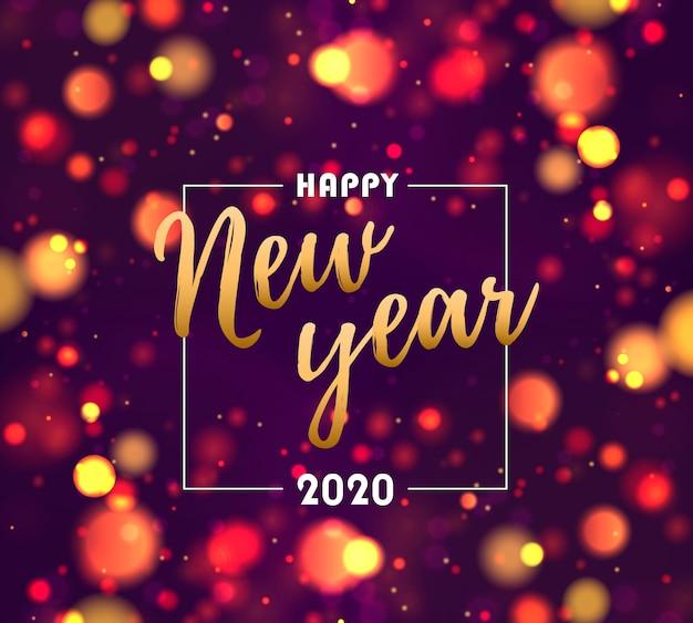 Frohes neues jahr 2020. festliche lila, blau, goldene lichter. Premium Vektoren