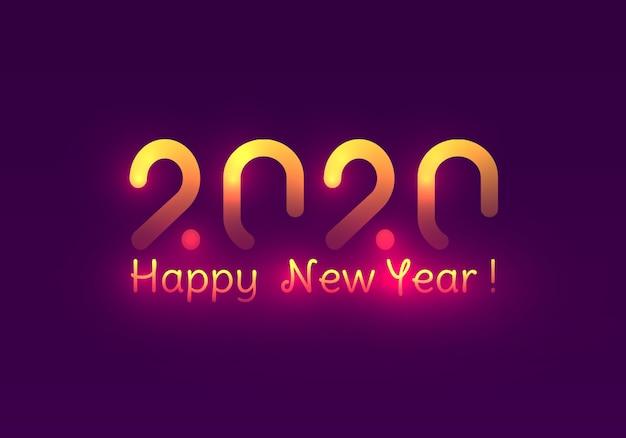 Frohes neues jahr 2020. festliche lila und goldene lichter. Premium Vektoren