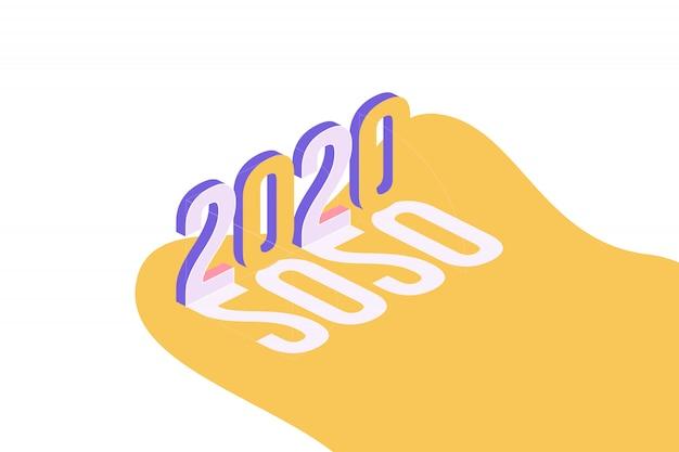 Frohes neues jahr 2020. gruß inschrift im isometrischen stil. Premium Vektoren