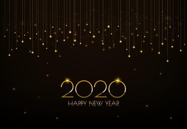 Frohes neues jahr 2020 grußkarte design mit leuchtenden goldenen lichtvorhang Premium Vektoren