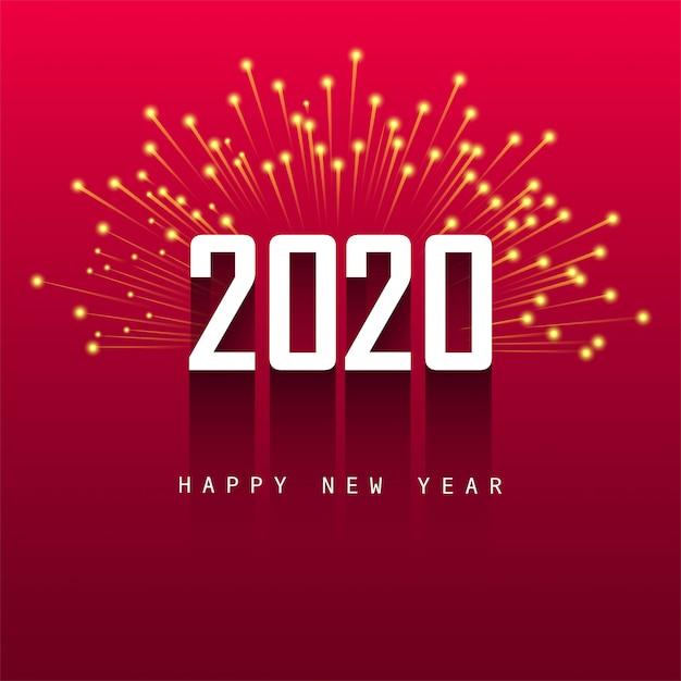 Frohes neues jahr 2020 grußkarte design Kostenlosen Vektoren