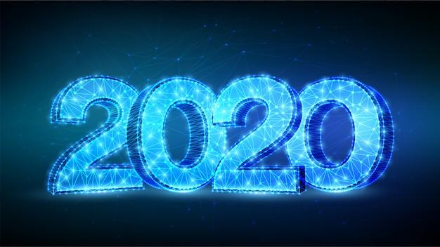 Frohes neues jahr 2020 grußkarte. geometrische niedrige polygonale 2020-zahlen. Premium Vektoren