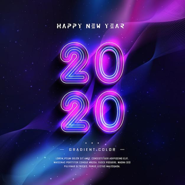 Frohes neues jahr 2020 grußkarte mit farbverlauf neon-effekt Premium Vektoren