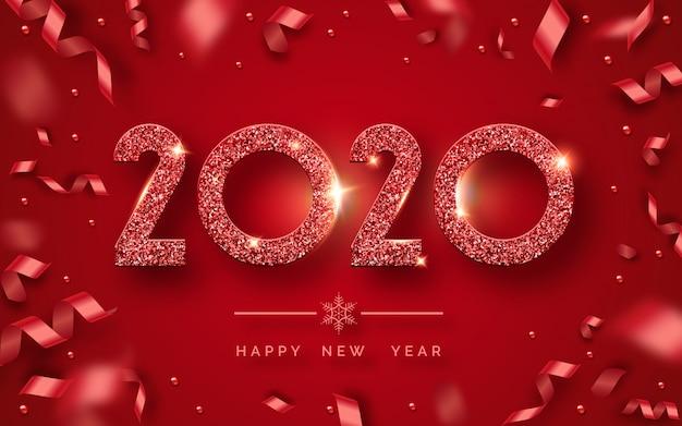 Frohes neues jahr 2020 grußkarte Premium Vektoren