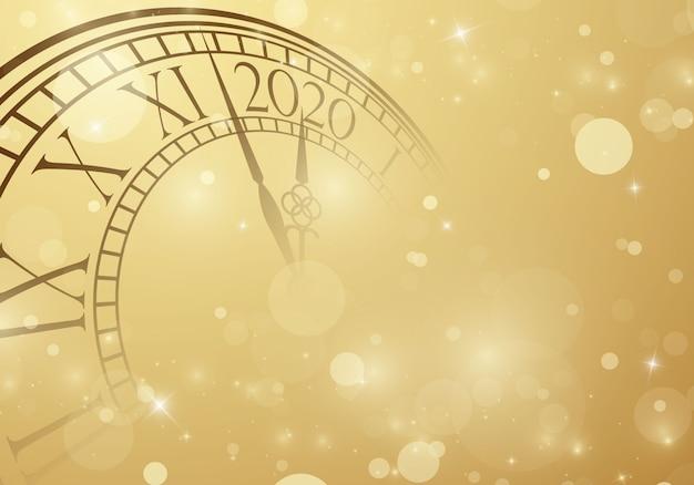 Frohes neues jahr 2020 hintergrund mit uhr Premium Vektoren