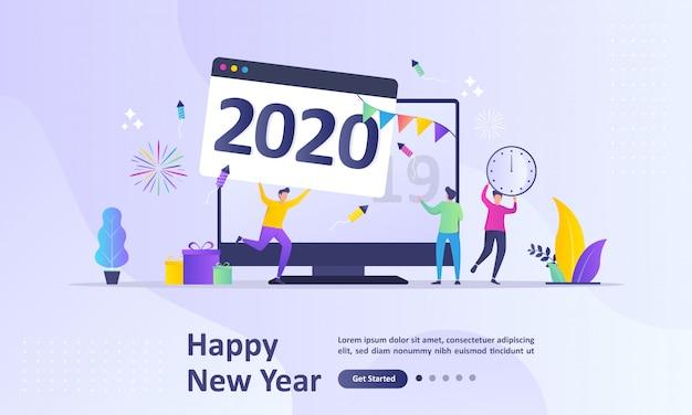 Frohes neues jahr 2020-konzept Premium Vektoren