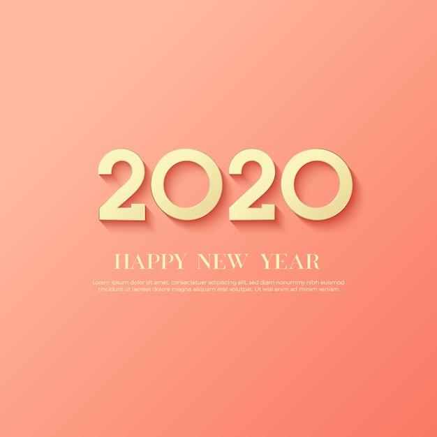 Frohes neues jahr 2020 logo text Premium Vektoren