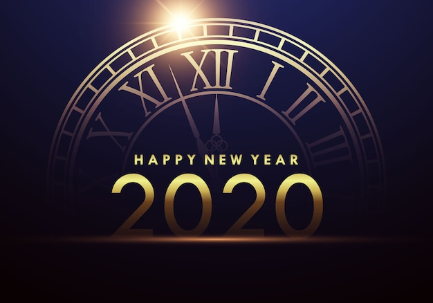 Frohes neues jahr 2020 mit einer uhr, die den beginn des neuen jahres zeigt. Premium Vektoren